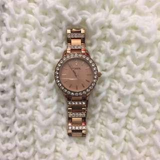 Rose Gold Diamond Fossil Watch