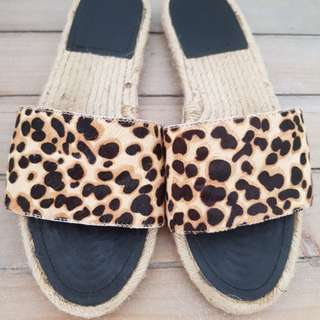 SEED HERITAGE Calf Hair Leather Slides in Leopard Print - Size 38
