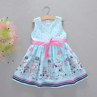 Lovely Sleeveless Blue Girl Dress With Ribbon