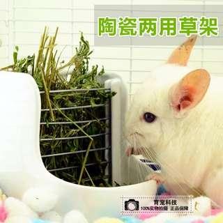 Ceramic Rabbit/Chinchilla/Guinea pig 2in1 Food Bowl/Container