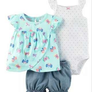 女寶寶夏季三件套裝嬰兒純棉短袖三角連身衣背心短褲