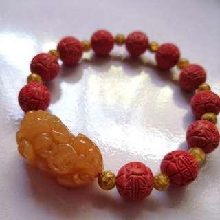 红东陵玉貔貅+朱砂