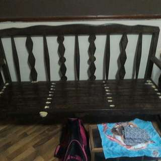 antique 3 seater chair teakwood