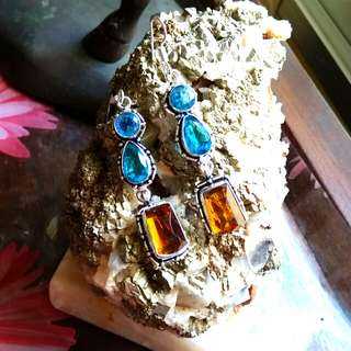"""Attractive Blue Topaz Citrine Earrings 3"""" Set in 925 Silver"""