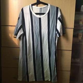 條紋長版薄Tshirt