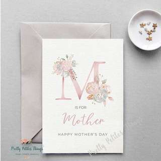 Handcrafted Watercolour Floral Card - Happy Mother's Day (M is for Mother)