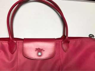 Longchamp桃粉紅色,中size,長柄,厚料
