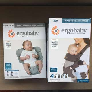 Ergobaby 360 Cool Air Mesh Baby Carrier + Infant Insert (BNIB)