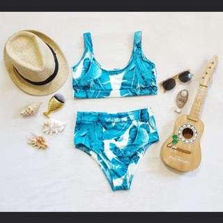 Tropical highwaist bikini swimsuit