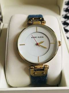 Anne Klein Denim and Leather Ladies Watch AK/0317SSTP