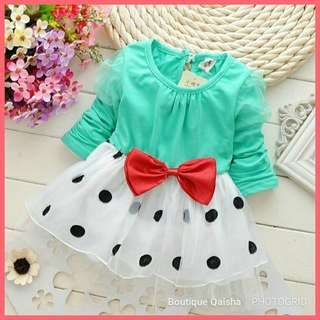 DRESS LONG SLEEVE POLKA DOT - GREEN