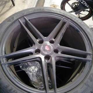 """Vossen Black Rims 5x112 18"""" with tyres Goodyear Eagle F1"""