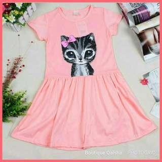 Cat Print Summer Shirt Dress