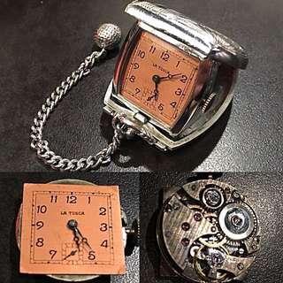 特價出讓30年代 瑞士品牌 罕有古董懷錶 (拿杜司加) Vintage Swiss La Tosca Mechanical Manual Wind Pocket Watch 機械上鍊紳士淑女懷錶 : 100%原裝瑞士制造,新淨錶面細三針運行,白銅錶壳33mm x 38mm 開合正常,運作中。
