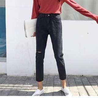 #換季五折黑色顯瘦牛仔褲