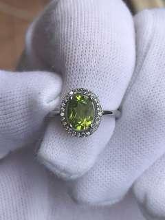 Natural Peridot Sterling Sliver Ring 橄榄石银戒指