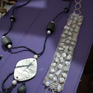 Bundle beach necklace and bracelet