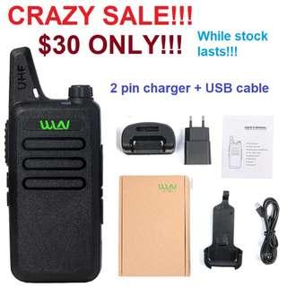 💥S$30 only!!!! 💥 💘CRAZY SALE! 💘White stock lasts! New model, military grade! WLN KD-C1 Mini UHF 400-470 MHz Handheld Transceiver Two Way Ham Radio HF Communicator Walkie Talkie *BLACK* Export Set