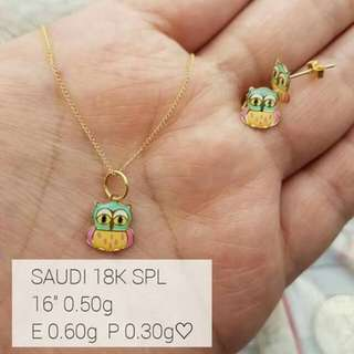 Necklace and earring for kids 18k saudi gold