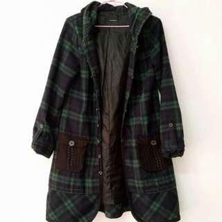 長版連帽針織設計深綠格紋外套