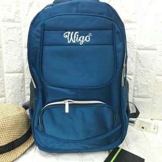 New arrival !!! Wigo ... original !!! Backpack .. high quality, teal ... Size : H18*W13*D5.5 inches  : P550