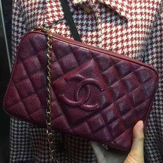 Chanel Vintage 深紅色荔枝皮 Camera Bag