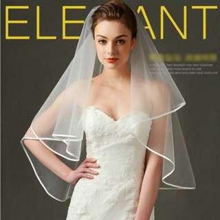 ::氣質頭紗:: 極簡風頭紗/ 歐美風新娘飾品/ 精緻頭飾/ 造型師新秘配件/米白色優雅素面/ 緞帶包邊滾邊頭紗