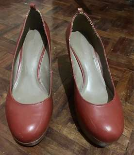 Charles and Keith Leather Platform/Wedges Shoes