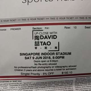 David tao concert 9th june 2018 2 ticket