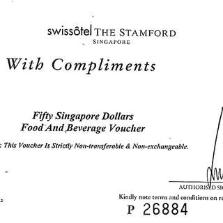 Fairmont Singapore dinning voucher 3 for the price of 2