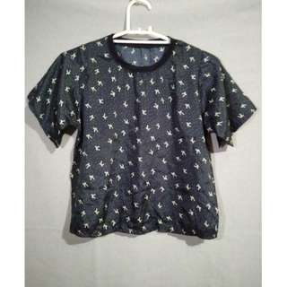 black printed blouse