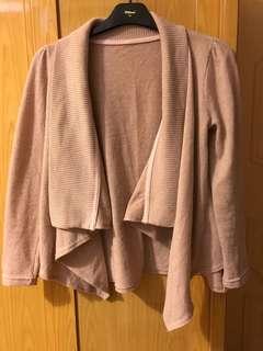 粉紅針織 開襟外套
