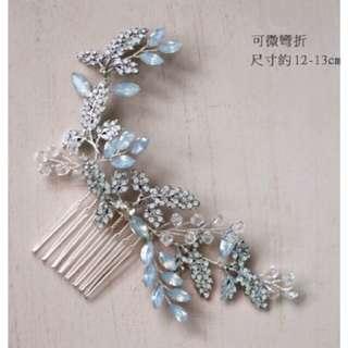 現貨::藍雨:: 歐式復古小葉片造型髮叉/水鑽蛋白鑽新娘飾品/優雅精緻/帶肩膀全真髮假人頭/ 教學立地腳架