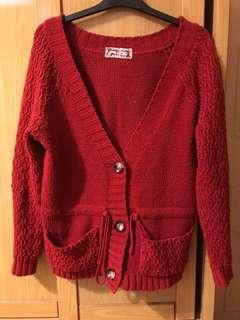 拼接針織外套 紅色