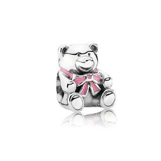 pandora bear with pink bow charm
