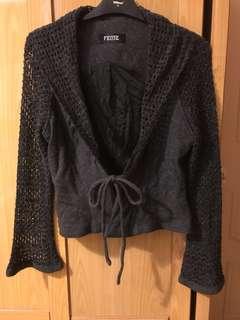 毛料拼接外套 灰黑色