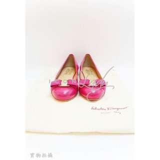 SALVATORE FERRAGAMO 桃紅色 漆皮 平底鞋