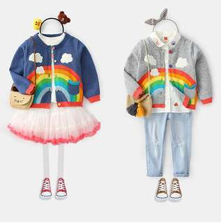 【BABYWEAR】【CLOTHING】【GIRL】PCO0005 CHILDREN BABY TODDLER GIRL RAINBOW BLUE & GREY CARDIGAN OUTWEAR