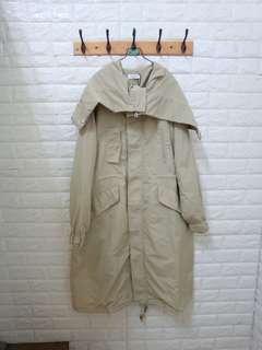 韓貨。長版風衣腰身外套