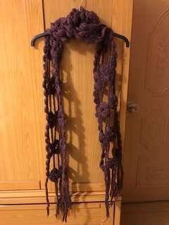 鉤針圍巾 紫色