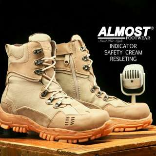 Asli import sepatu kulit boots almost indikator.