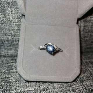 👑罕有天然斯里蘭卡星光藍寳石18K白金包純銀戒指🌠主石5.2x6.8mm精工鑲嵌開口圈💎Silver Natural sapphire Ring