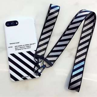 Off White Case Casing Zebra with 2 lanyard Iphone 7 7+ 8 8+