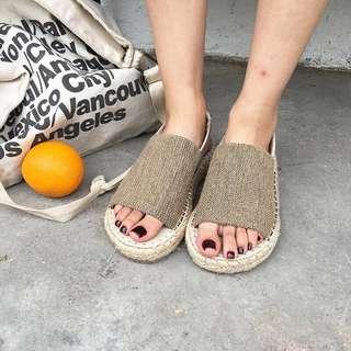 草編底一片式涼鞋