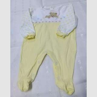0-3 Baby Girl White Yellow Sleepsuit / Overall