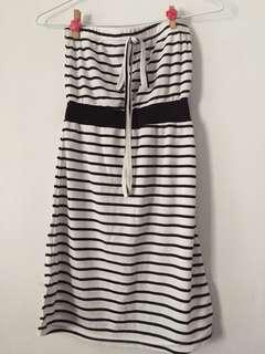 黑白條紋平口洋裝