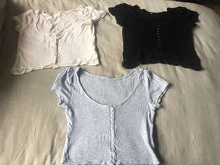Bundle of three ribbed loose fit button up crop tops blue, white and black- all size small