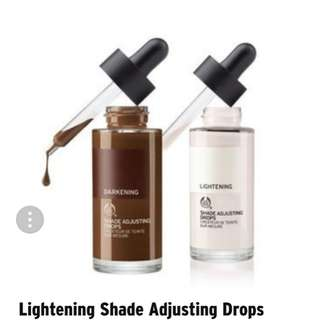 😄FOUNDATION TOO DARK? LIGHTEN TO YOUR DESIRED SHADE WITH THIS MAGICAL SHADE LIGHTENER!!😄The  Bodyshop Lightening Shade Adjusting Drops