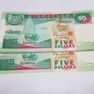 Bird Series $5 Dollar notes