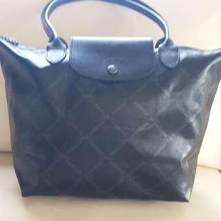 Longchamp Made in France Le Pliage Coated Canvas Black Logo Bag Handbag